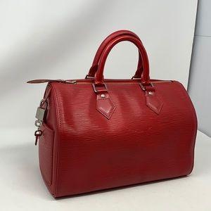 LOUIS VUITTON Speedy 30 Red Epi Leather Bag